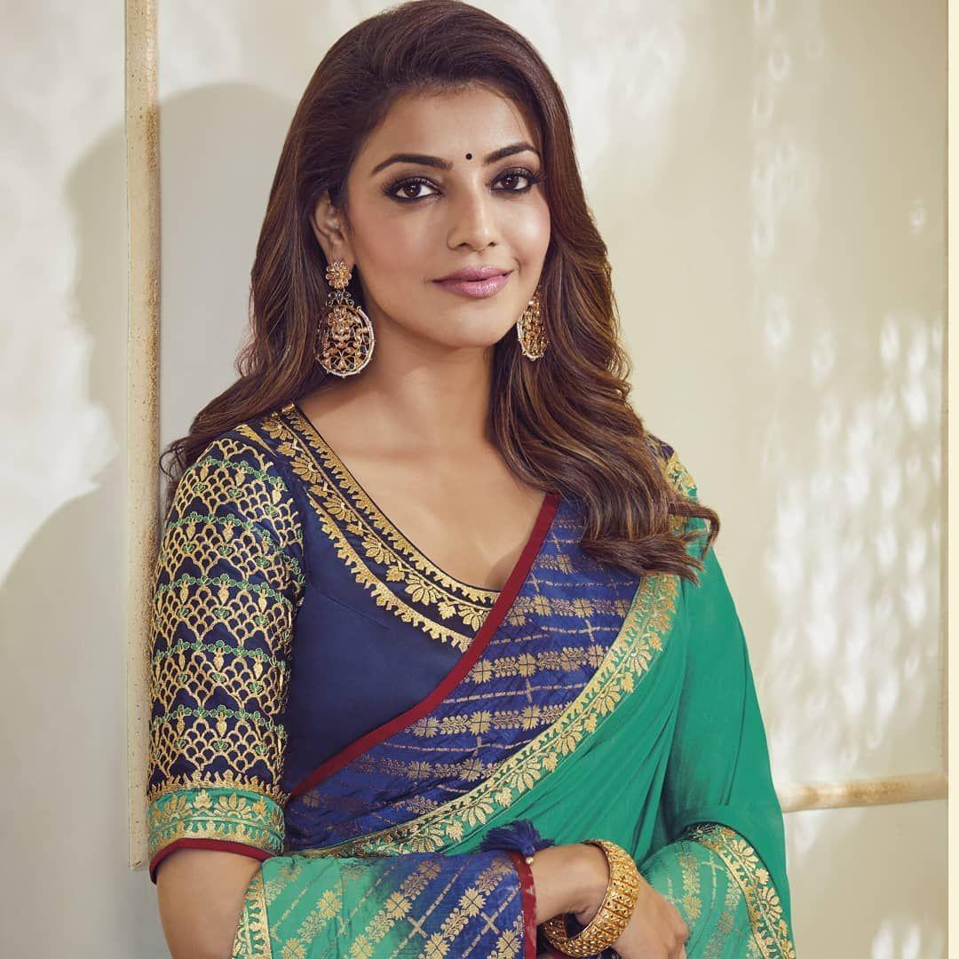Glamorous Indian Girl Kajal Aggarwal Traditional Blue Saree In 2020 South Silk Sarees Indian Fashion Saree Saree