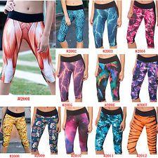 Women Capri Legging Yoga Cropped Pants Sport Athletic Gym Workout ...