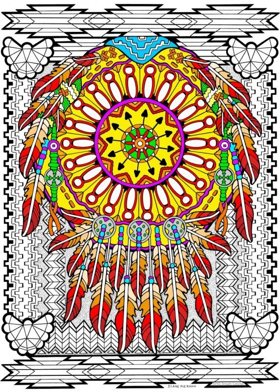 Dream Catcher 10x14 Coloring Poster Dream Catcher Fuzzy