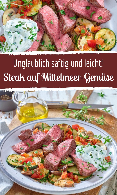 Saftiges Steak auf Mittelmeer Gemüse