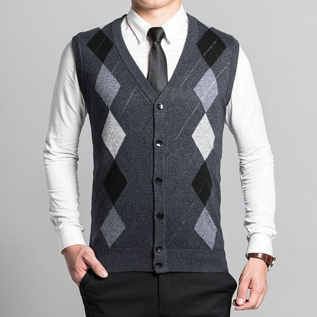 single breasted wool Sweater Vest mens clothing Autumn and Winter ...