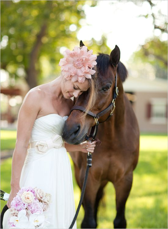 "{this couldn't be more ""me"" if I'd planned it myself. horse&saddles;check/ fishnet veil;check/ my favorite flowers(peonies&orchids);check/ shot in a barn;check} equestrian bridal shoot by KT Merry photography. gown by ivy & aster; spectator veil by BHLDN; bouquet of peonies & orchids by Parrish designs; saddles, horse, & vintage accessories belong to the bride"