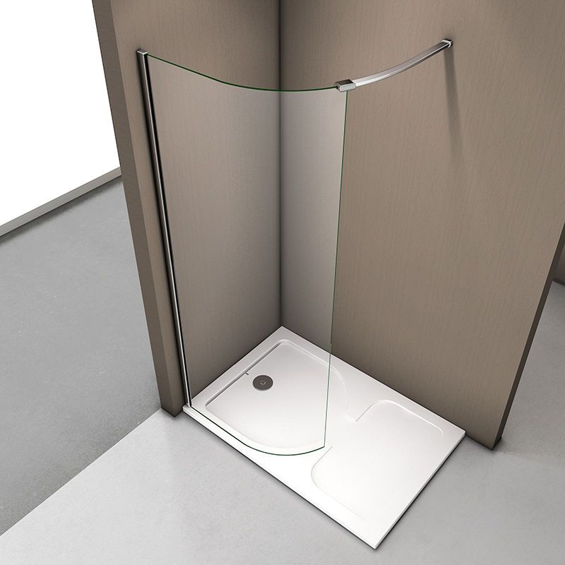 New Wet Room Shower Enclosure Curved Screen and Tray Walk In 6mm ...