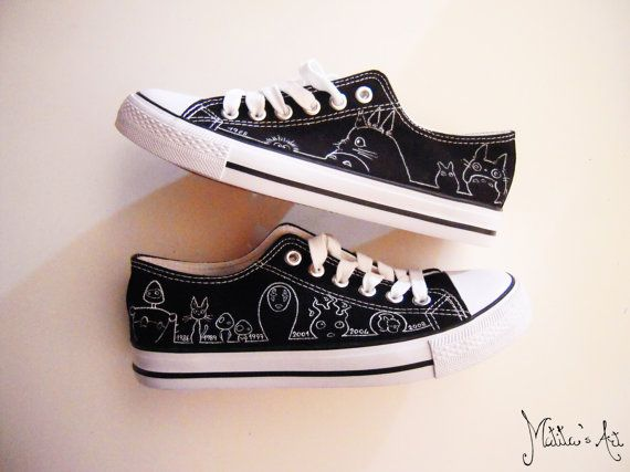 430896d438f7 Studio Ghibli hand painted shoes series   Miyazaki characters shoes   Black    White shoes