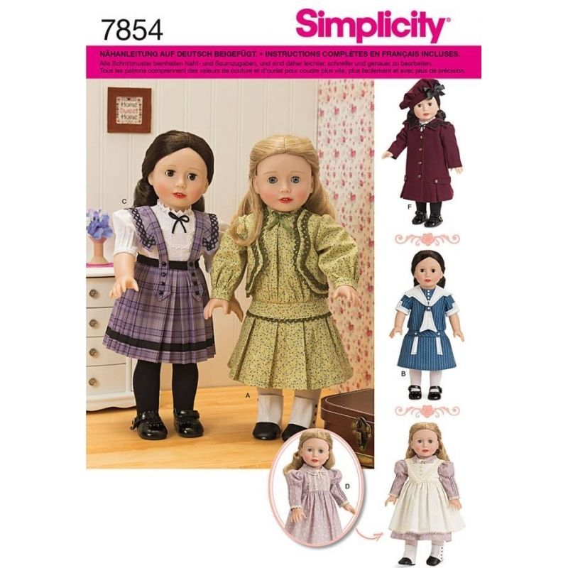 SIMPLICITY 7854 OS SCHNITTMUSTER PUPPE PUPPEN PUPPENKLEIDER RETRO ...