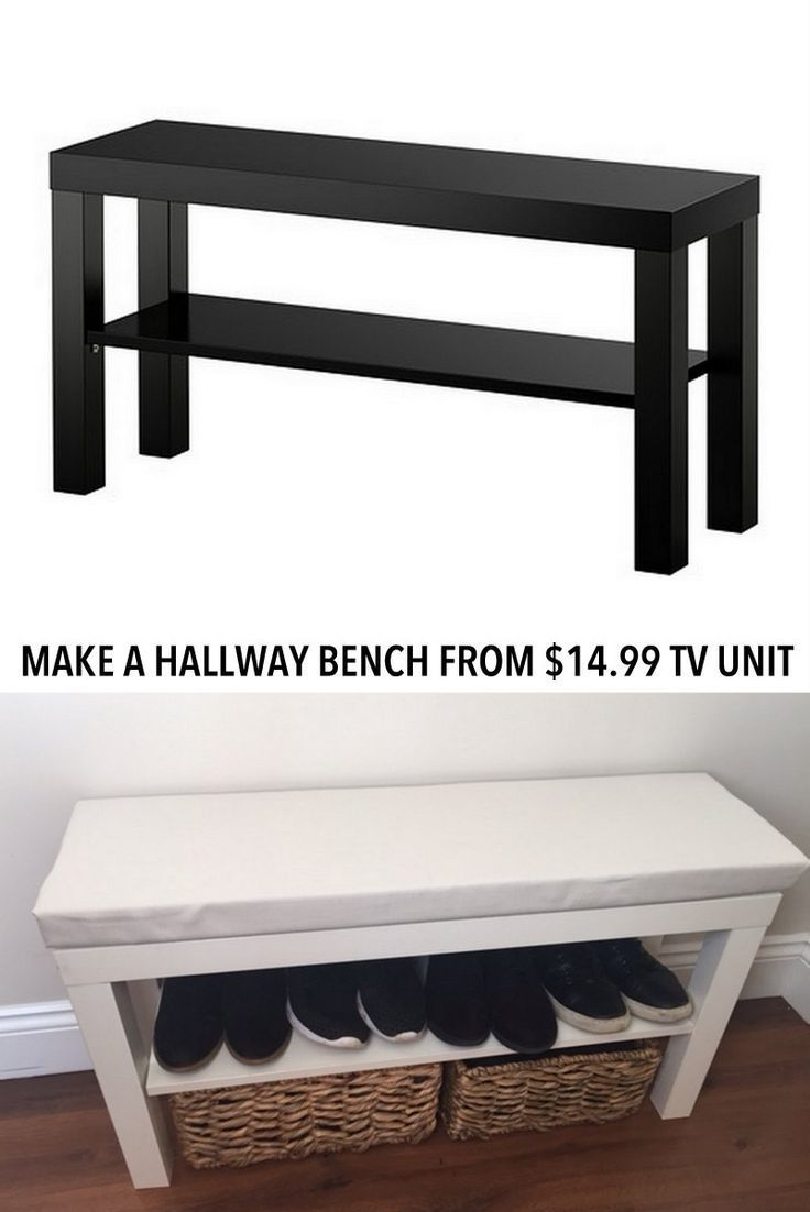 Turn a lack tv device into a bench in the hallway