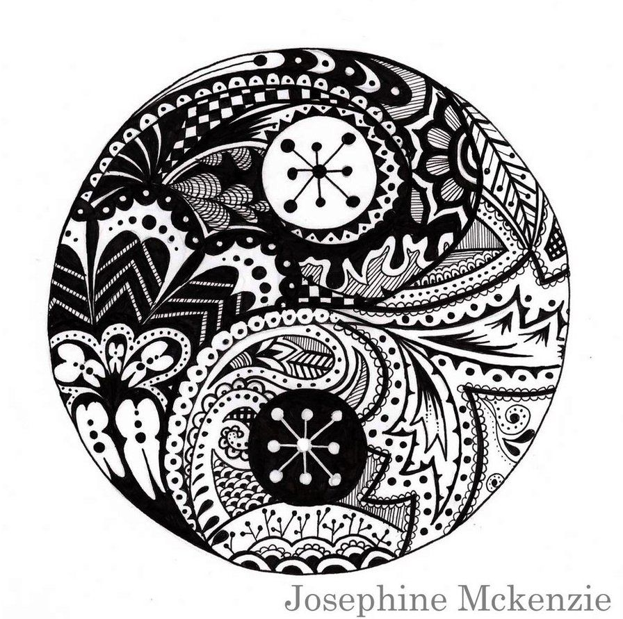 Coloring Page Yin Yang Chinese Symbol Fusion Flowers Grapes