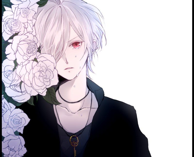 Subaru Diabolik Anime Boy White Hair Red Eyes Key Necklace