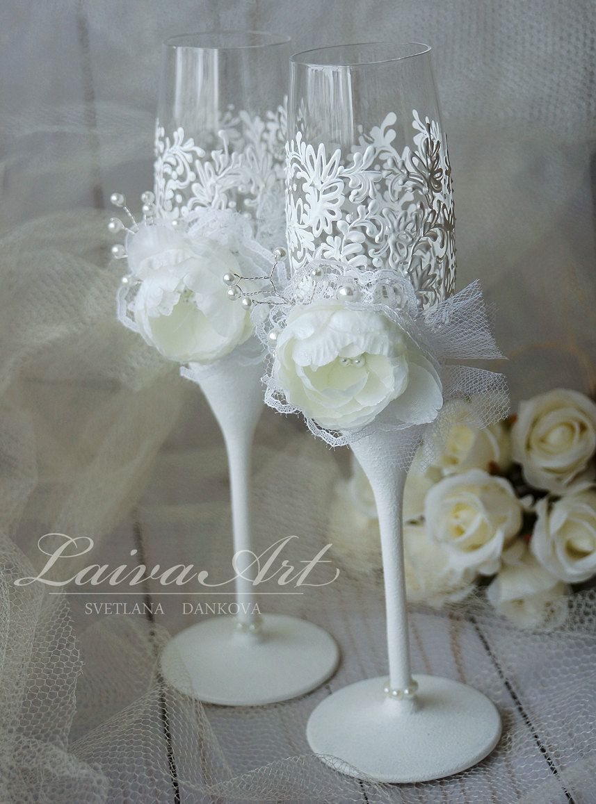 Wedding champagne flutes wedding champagne glasses white wedding wedding champagne flutes wedding champagne glasses white wedding decoration bride and groom wedding glasses by laivaart on etsy junglespirit Images