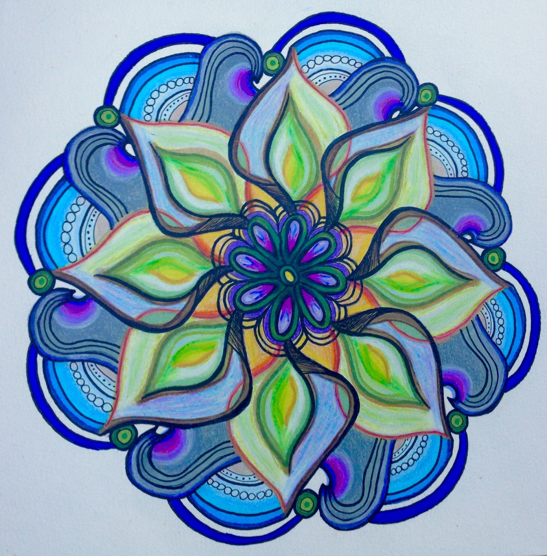 Mandala With Prismacolor Markers Colored Pencil And Micron Pens Mandala Drawing Mandala Art Mandala