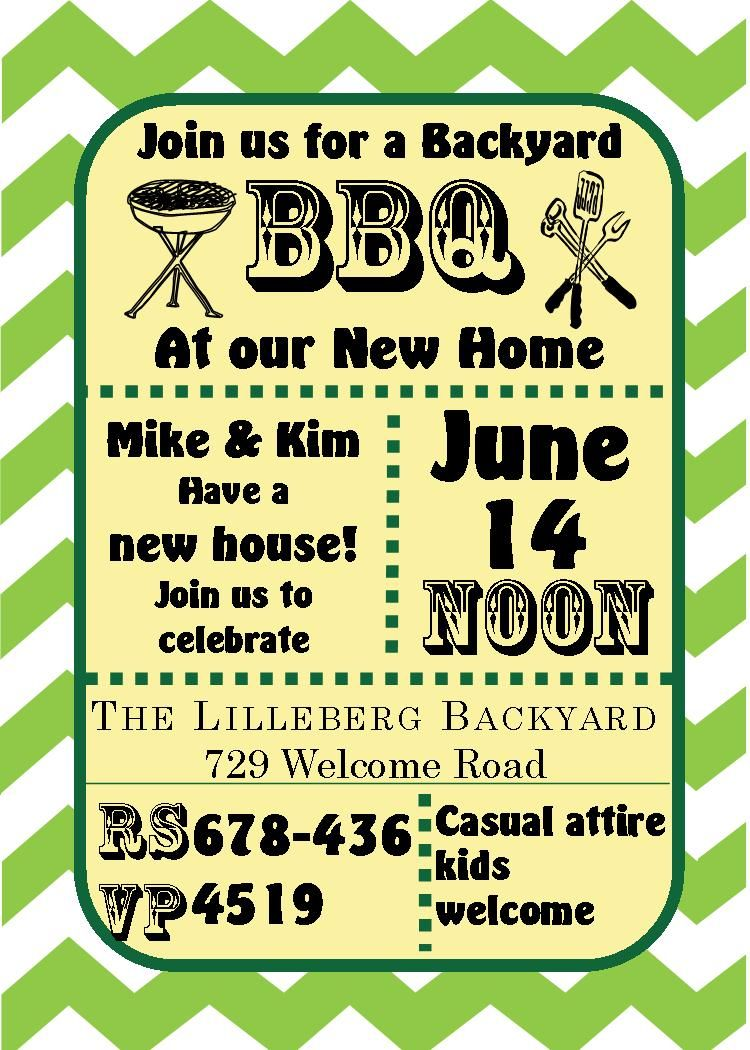 Green chevron bbq housewarming and open house invitations green chevron bbq housewarming and open house invitations housewarming party stopboris Images