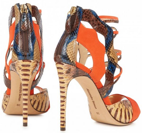 Alexandre Birman Python and Suede Sandals