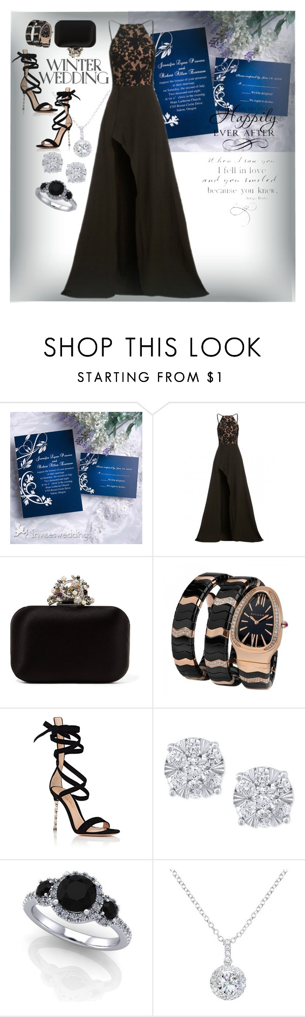 """""""Winter Wedding"""" by donnyprabowo ❤ liked on Polyvore featuring Elle Zeitoune, Jimmy Choo, Bulgari, Gianvito Rossi, Effy Jewelry, EWA and WALL"""