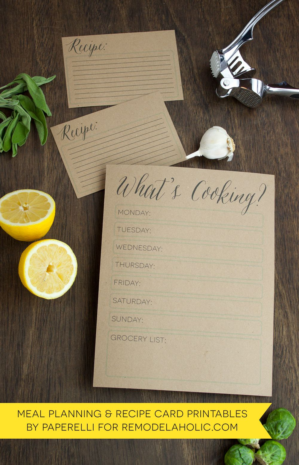 Love this inspiration to plan ahead for meals. Makes cooking less stressful = more quality time with the family.  Weekly Menu Planner + Recipe Card by @Paperelli for @Remodelaholic