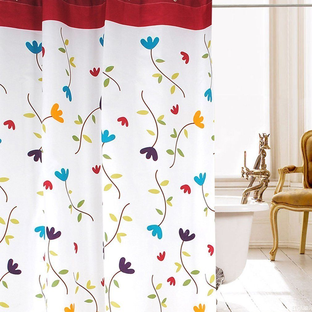 Picama Orchid Flower Pattern Waterproof Polyester Fabric Shower