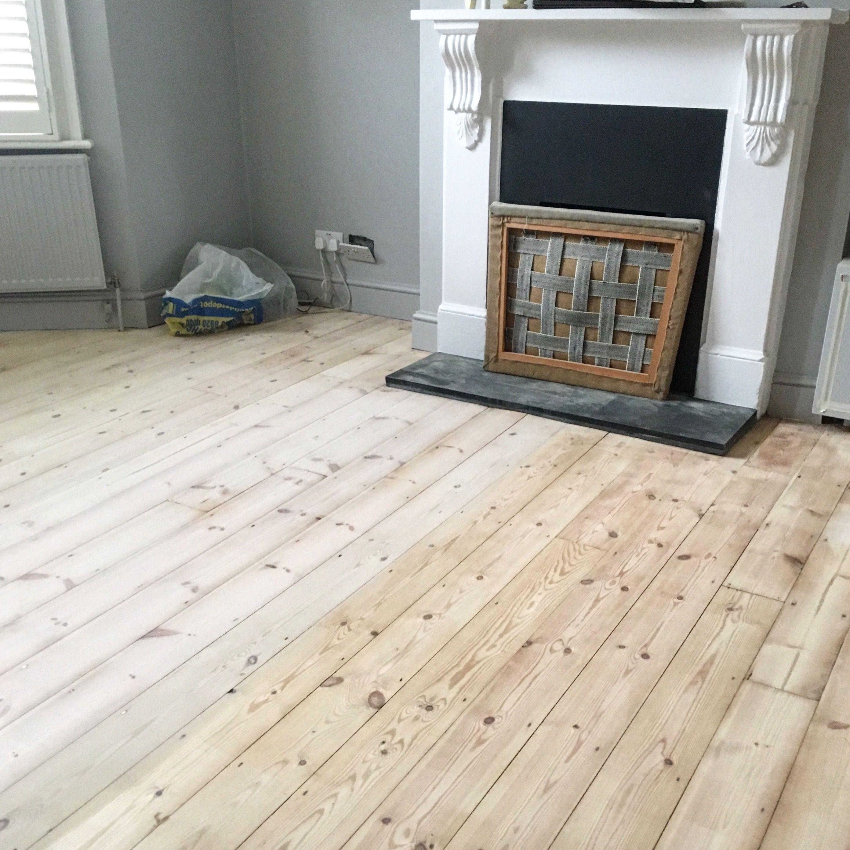 Pine Wooden Floorboards Half Treated With Finney S White Wood Dye Diluted On A 1 2 Ratio In A London Wooden Floorboards Pine Wood Flooring White Wooden Floor