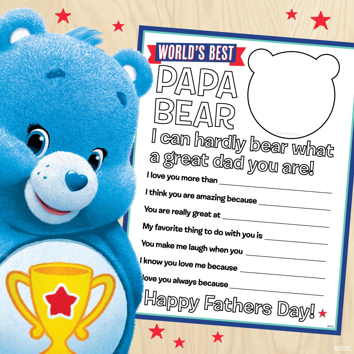 Care Bears Free Father's Day Printable   Glücksbärchis, Bär, Glück