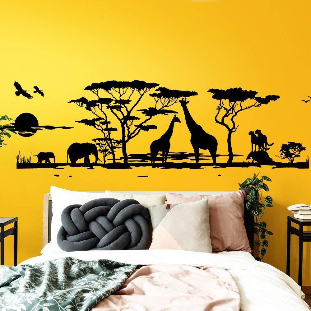 Grandora W683 Wandtattoo Afrika Savanne Tiere Wohnzimmer