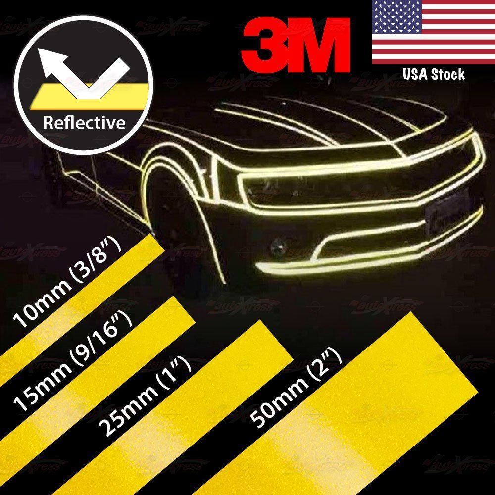 3 8 9 16 1 2 Reflective Self Adhesive Pinstripe Vinyl 3m Tape Sticker Yellow 3m Reflective Decals Reflective 3m Tape