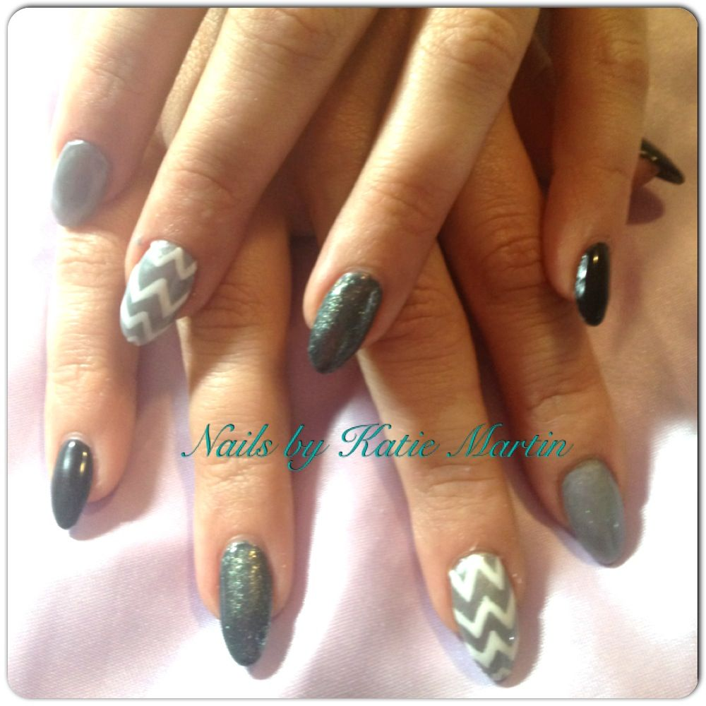Multitone chevron nails nails by moi pinterest