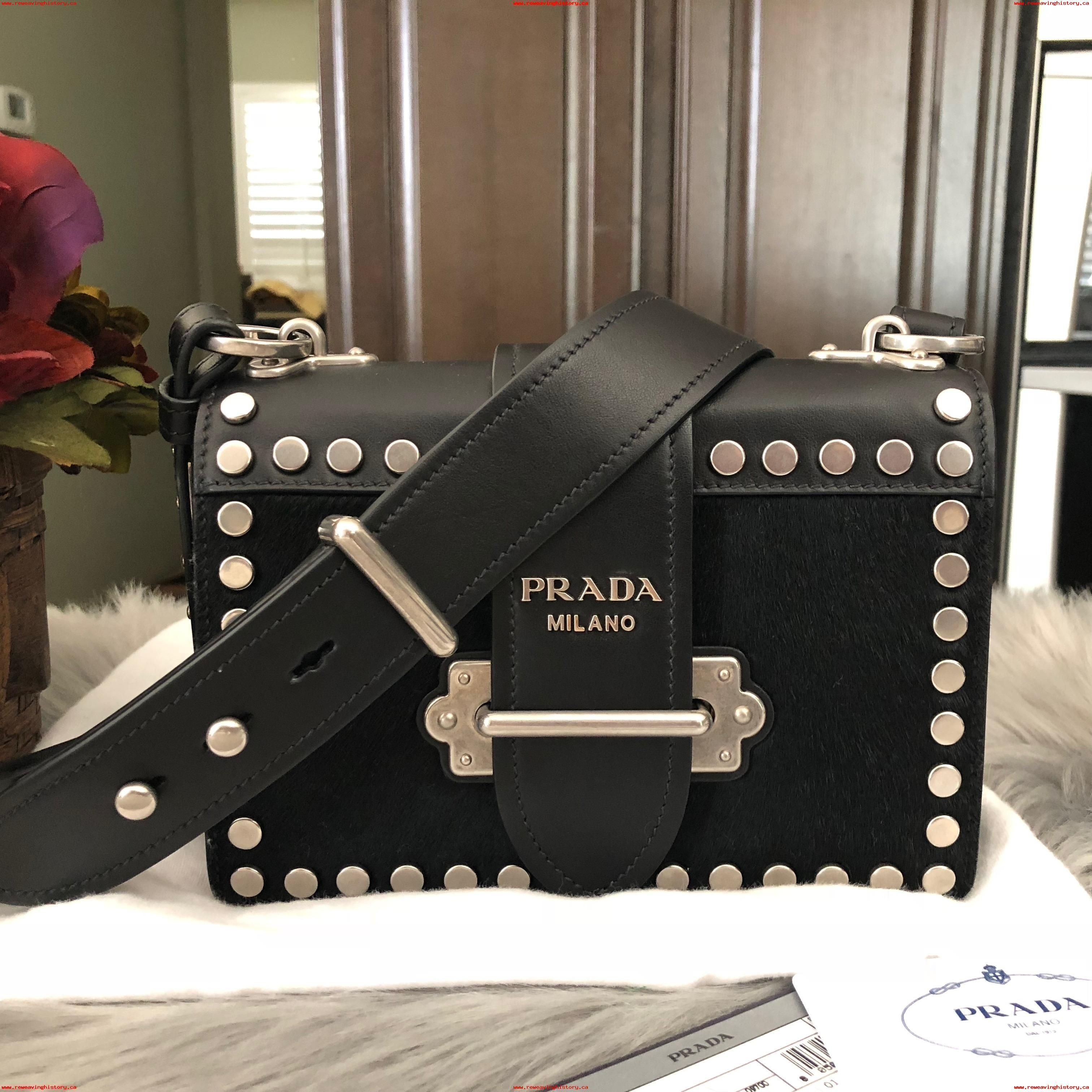 42b41318240155 discount price Prada Cahier New Small Calf Hair Shoulder Black Leather  Cross Body Bag WSxOyUT9