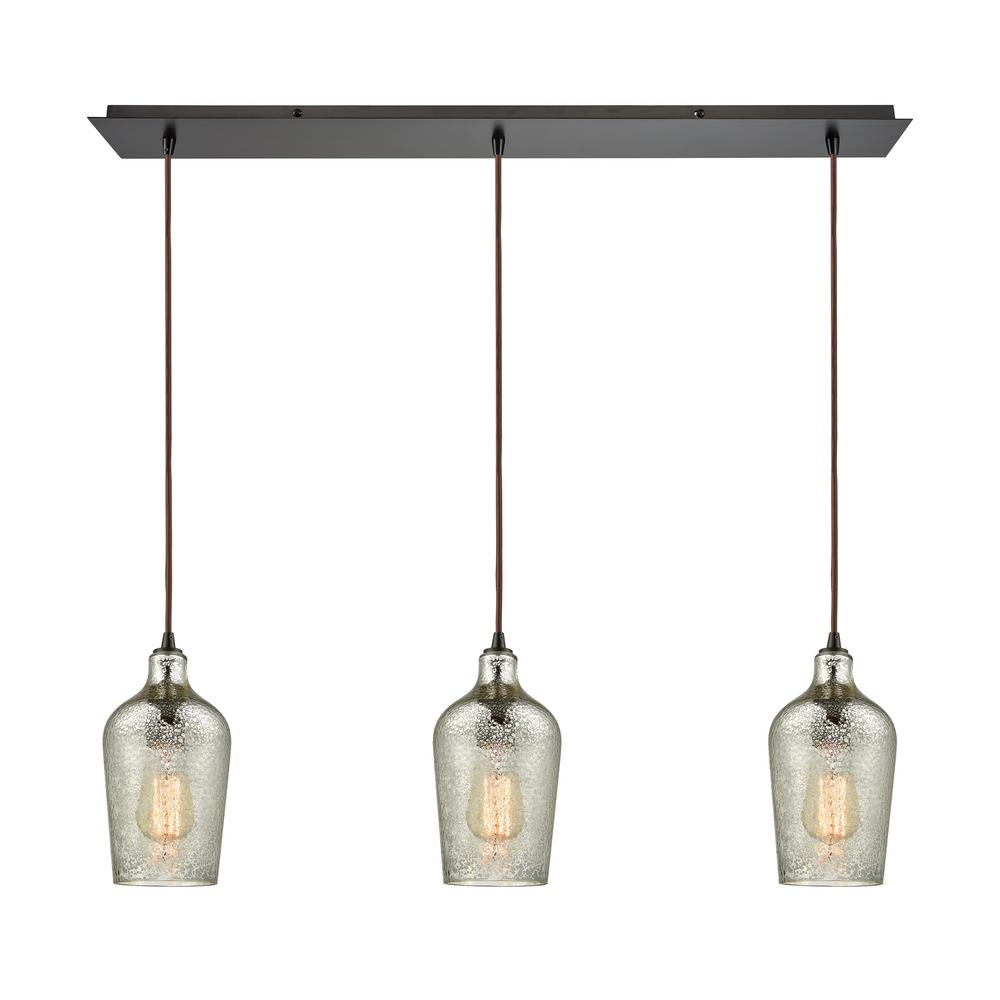 Titan Lighting Hammered Glass 3 Light Linear Pan In Oil Rubbed Bronze With Hammered Mercury Linear Pendant Lighting Multi Light Pendant Exterior Light Fixtures
