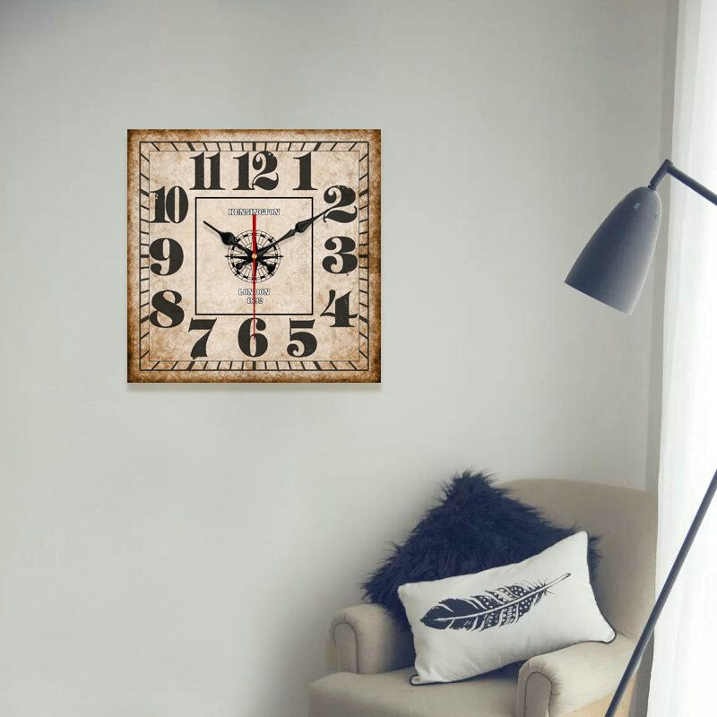 Vintage Wooden Wall Clock Simple Square Mute Wall Clock 14inch Wall Clock Wall Clock Simple Clock