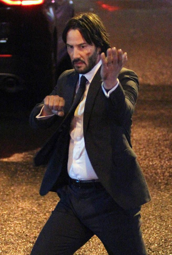 Keanu Reeves On The Set Of John Wick 2 In New York City November 17