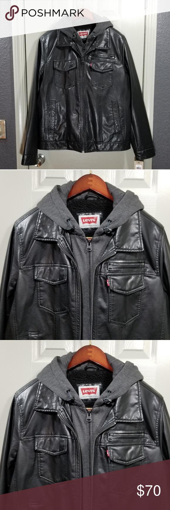 Levi S Men S Faux Leather Trucker Jacket W Hoodie Trucker Jacket Layered Hoodie Hoodies [ 1740 x 580 Pixel ]
