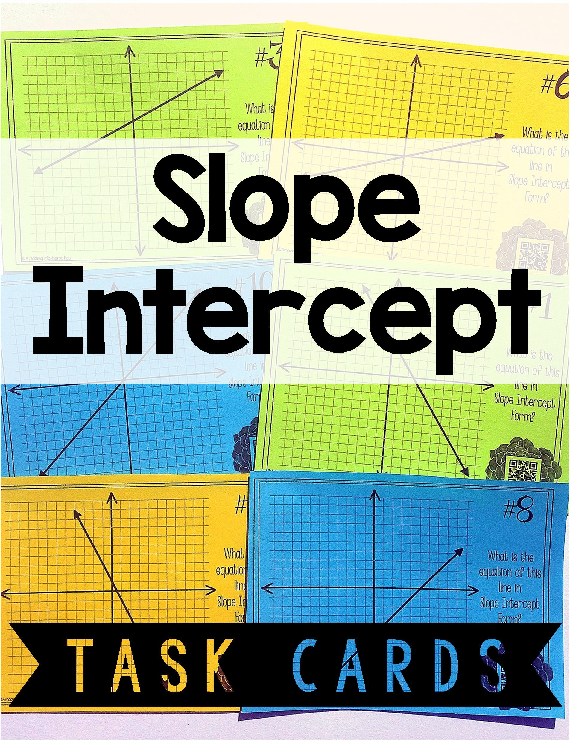 Writing Linear Equations in Slope Intercept Form Task Card Activity ...