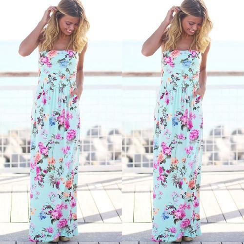 9c2a4183c2 Sexy ladies beach dress women strapless sleeveless long dress 2018 new  arrival summer dress flower print maxi women sundresses