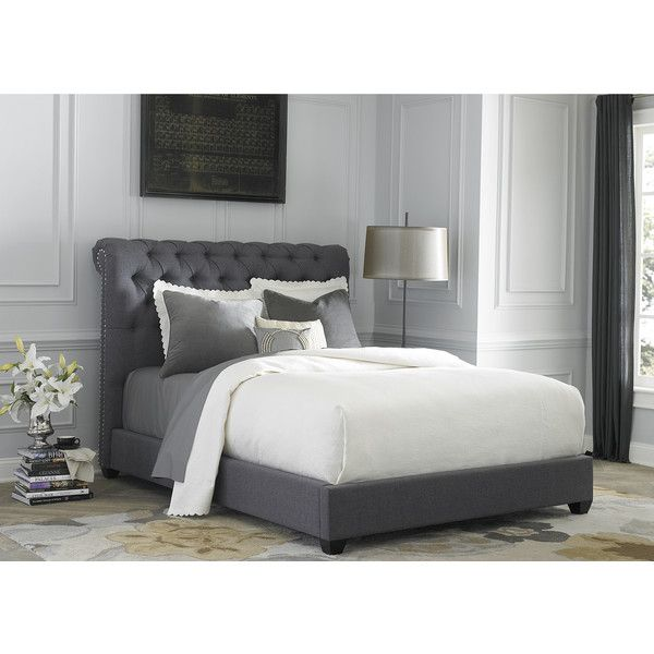 Liberty Dark Gray Linen Chesterfield Sleigh Upholstered Bed Set 1 125 Liked On Polyvore F Upholstered Beds Upholstered Sleigh Bed Upholstered Platform Bed
