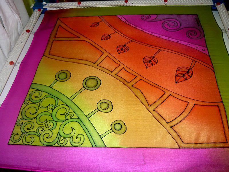 Lila- és zöldszegélyes selyemkendő