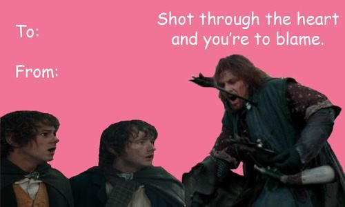 lord of the rings  boromir valentines day card  lord of