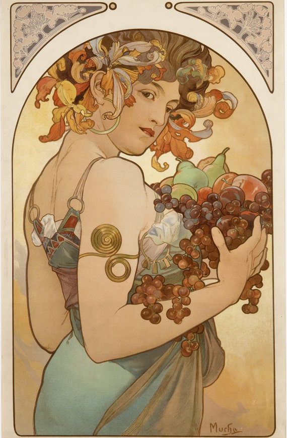 Alphonse Mucha The Precious Stones Ruby Giclee Print Reproduction Painting Large Size Canvas Paper Wall Art Framed Poster Ready to Hang