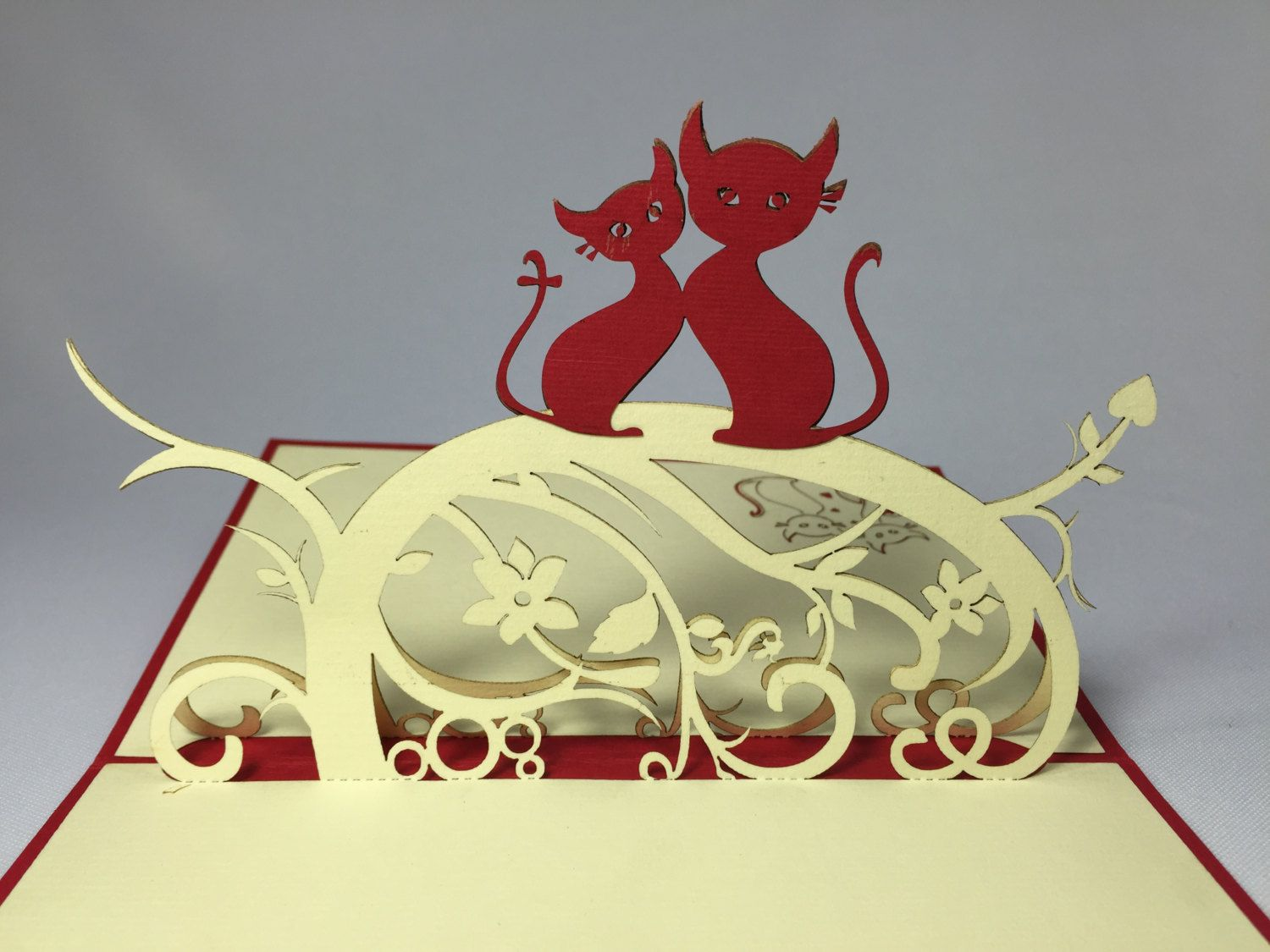 Cat couple d handmade card pop up card valentines day card