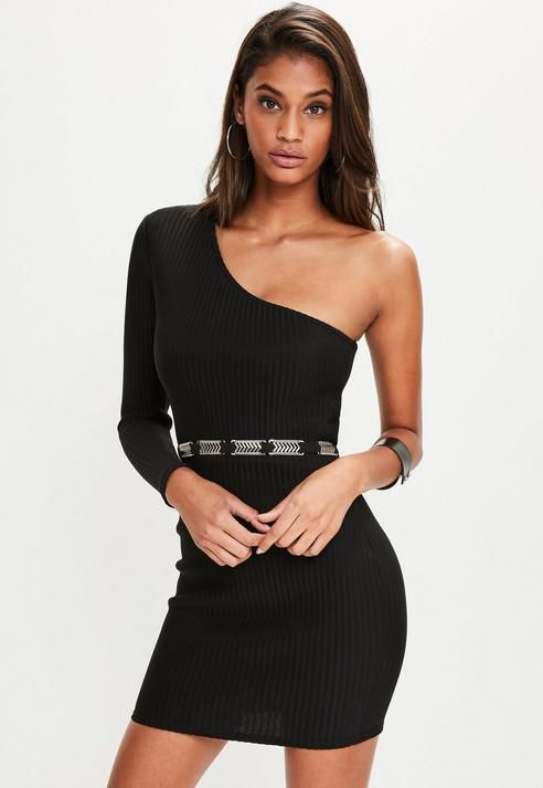 b182c04e4eb Missguided Black Ribbed One Shoulder Bodycon Dress
