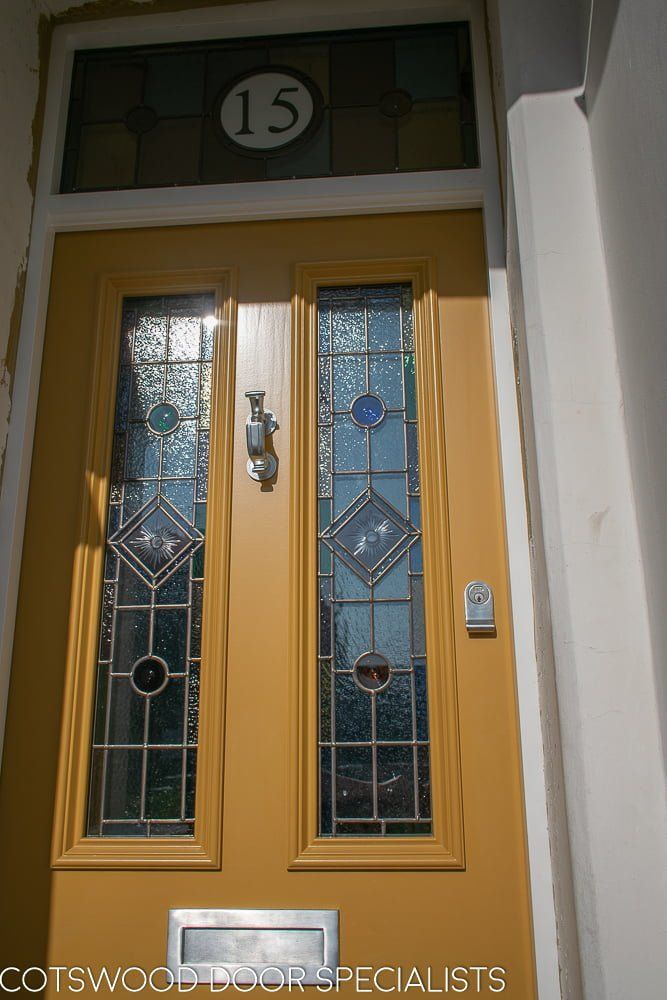 Yellow Victorian front entrance door and frame-3 #victorianfrontdoors Yellow Victorian front entrance door and frame-3 #victorianfrontdoors