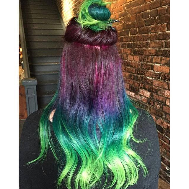 IG's @hairbydylan from Vain Salon in Seattle created this look using Hot Hot Pink, Fuschia Shock, Ultra Violet, Purple Haze, Atomic Turquoise, Enchanted Forest & Electric Lizard!!!