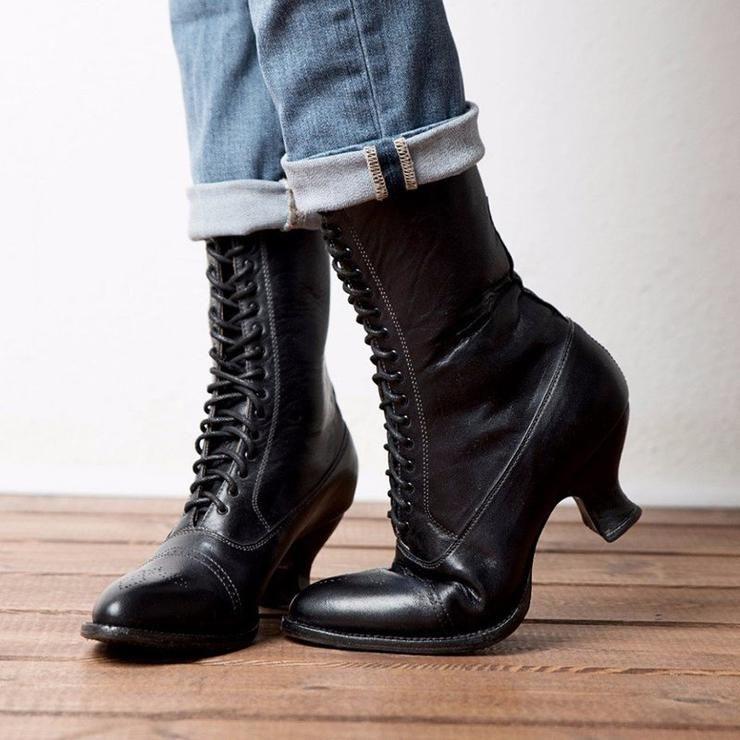 Stiletto Damenpumps Schnürung Punk Stiefel Faux Wildleder