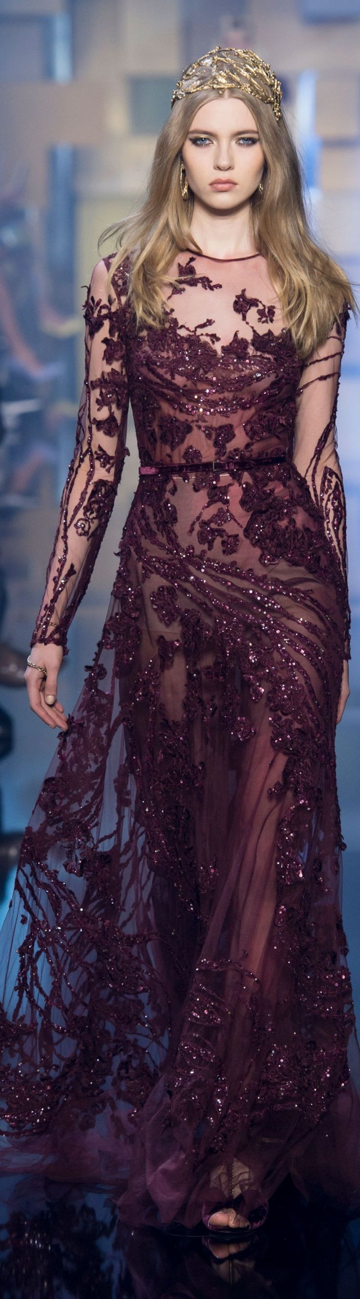 517ccacd936 Elie Saab ~ Couture Embroidered Burgundy Sheer Sequin Long Sleeve Gown 2015