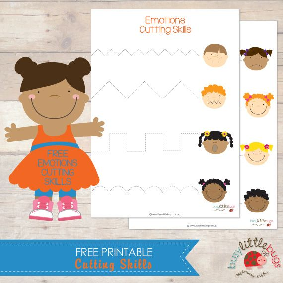 Free Emotions Cutting Skills Printable from Busy Little Bugs Free