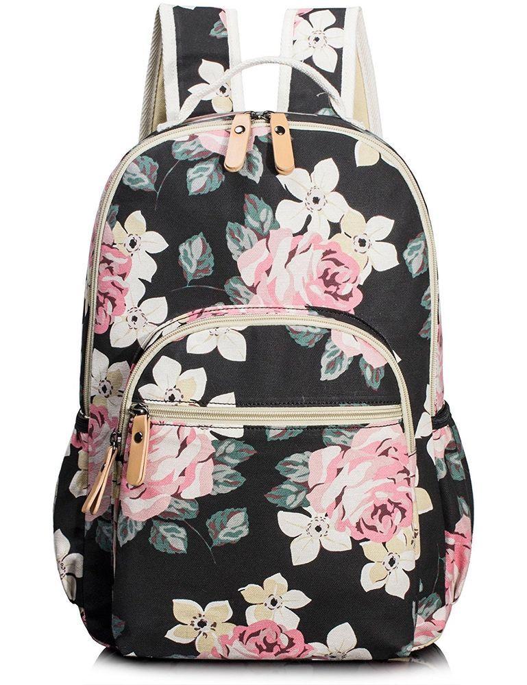 723950464613 Backpack School Bag Floral Rucksack Girls Laptop Backpack college Book Bag  Large