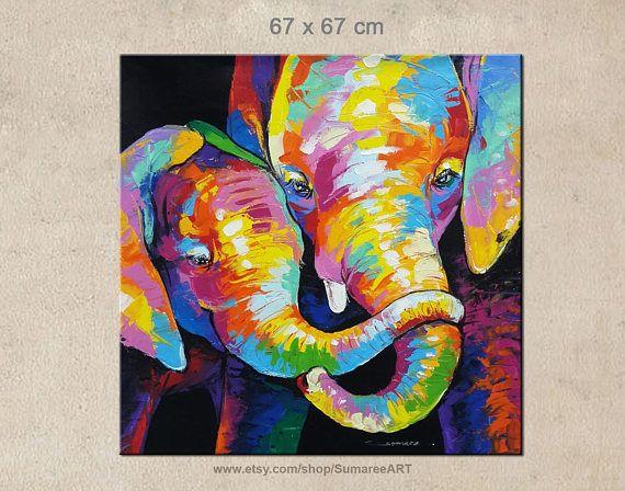Bunten elefanten acryl auf leinwand wand dekor des k nstlers sumaree nunsang aus thailand das - Elefanten bilder auf leinwand ...