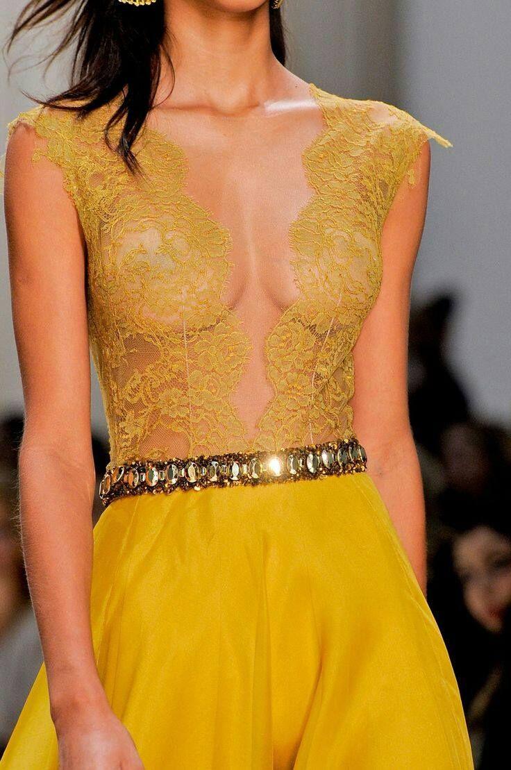 yellow transparent dress