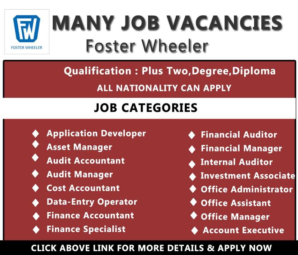 Foster Wheeler Jobs Accommodation Free Visa Ticket Benefits Click Here To Apply Engineering Jobs Hotel Jobs Job