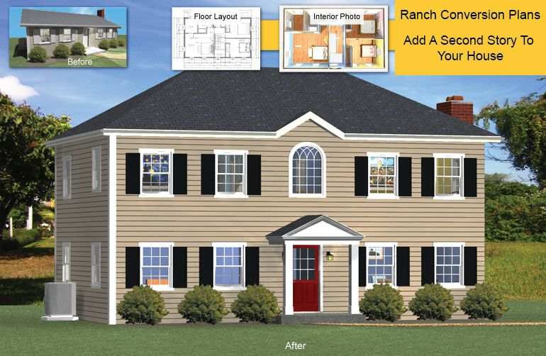 Add A Floor Convert Single Story Houses Exterior House Remodel Story House Colonial House