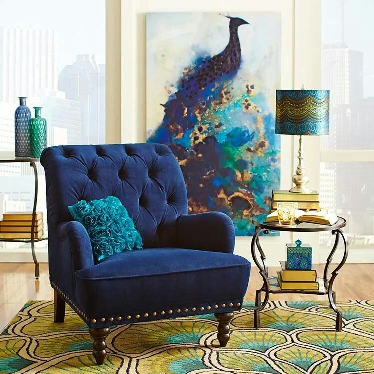 Peacock Living Room Inspired Mediterranean Style Painting And Chair Everything Else Is Too Much