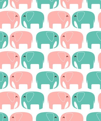 Elephant Wallpaper Cute Animals Blue Pink Green Phone Pattern Elephants