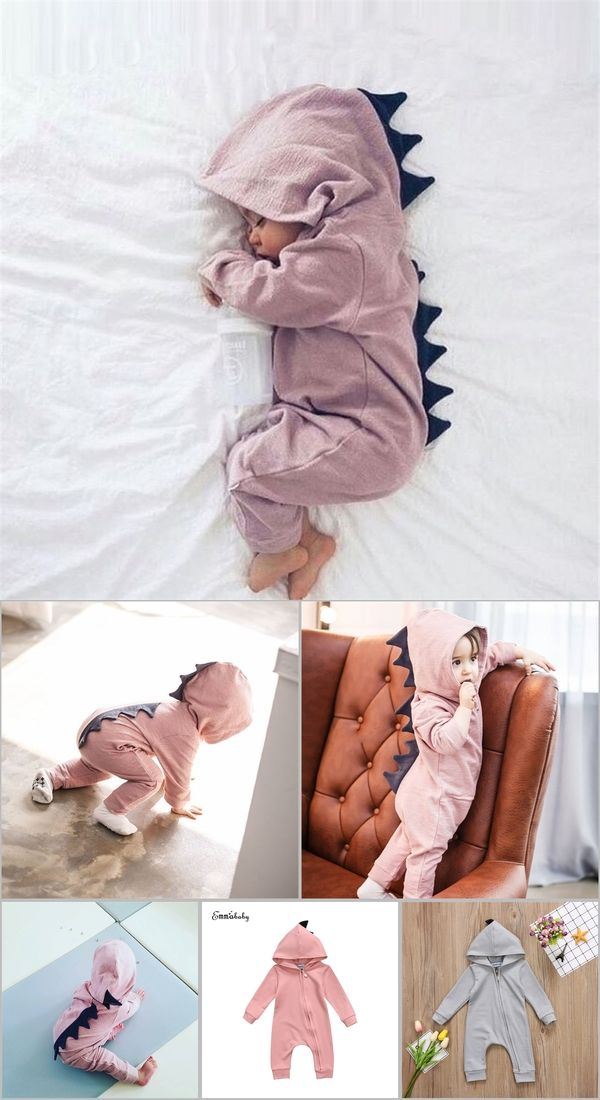 fb316704ffef Emmababy Baby Boy Girl 3D Dinosaur Costume Solid pink gray Rompers warm  spring autumn cotton romper